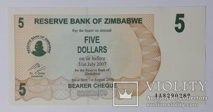Зимбабве 5 долларов 2006 год unc, фото №2