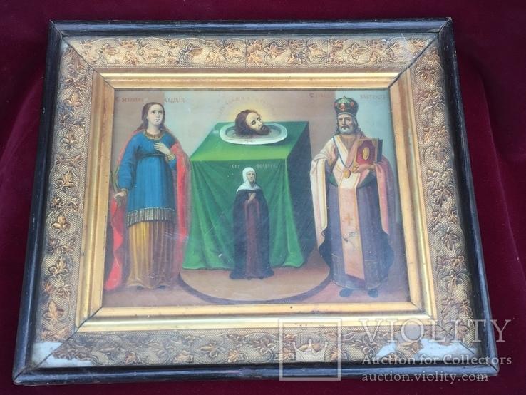 Старинная Икона Глава Иоанна, Евдокия, Иоанн Златоуст, Феодора, фото №2