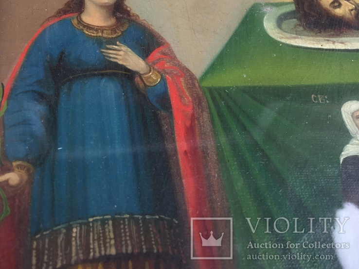 Старинная Икона Глава Иоанна, Евдокия, Иоанн Златоуст, Феодора, фото №4