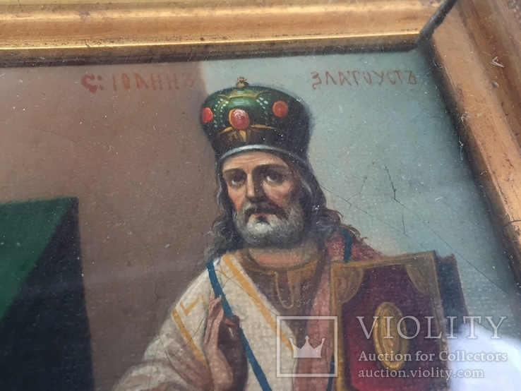 Старинная Икона Глава Иоанна, Евдокия, Иоанн Златоуст, Феодора, фото №6
