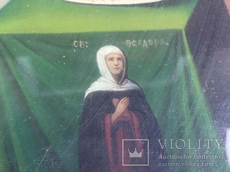 Старинная Икона Глава Иоанна, Евдокия, Иоанн Златоуст, Феодора, фото №7