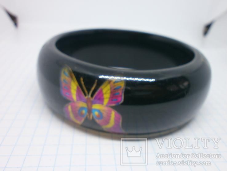 Широкий браслет с бабочками. Ширина 25мм, фото №6