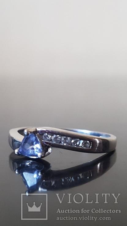 Золотое кольцо  с бриллиантами  и Танзанитом., фото №2