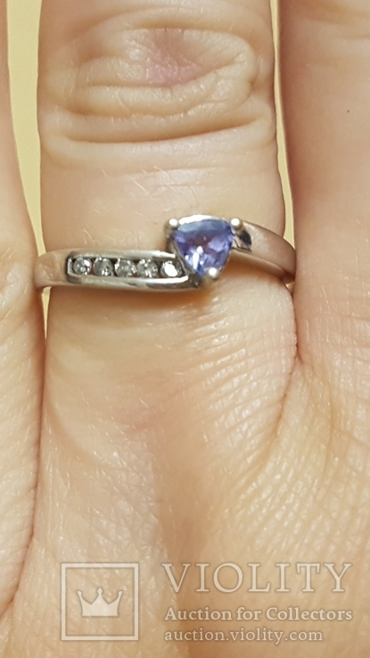 Золотое кольцо  с бриллиантами  и Танзанитом., фото №4