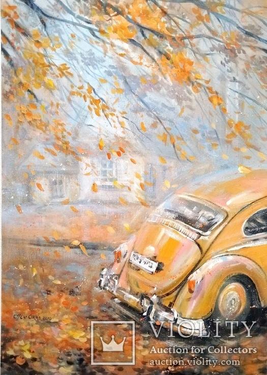 Картина «Падают листья». Серия «Авто». Художник Ellen ORRO.  50х70, 2019 г.