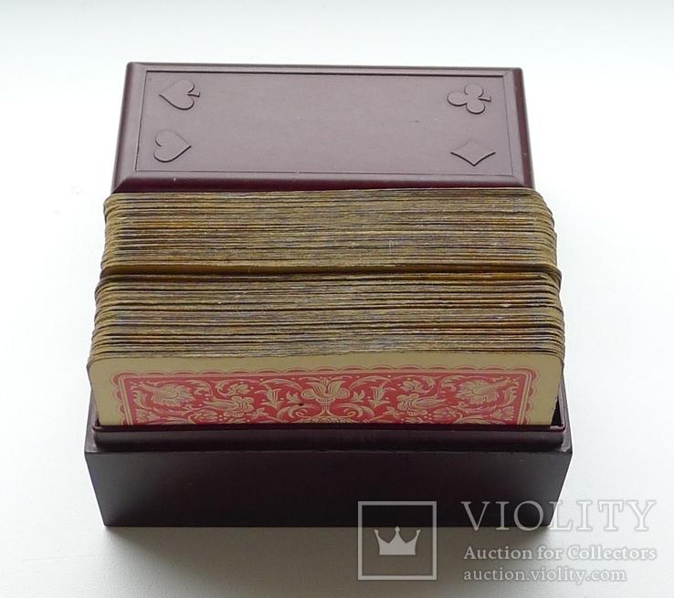 Старые карты для казино в бакелитовом футляре с мастями - 2 колоды., фото №4