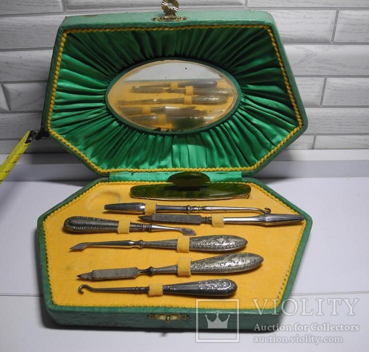 Дамский набор для маникюра ( Винтаж Европа ) Серебро , метал