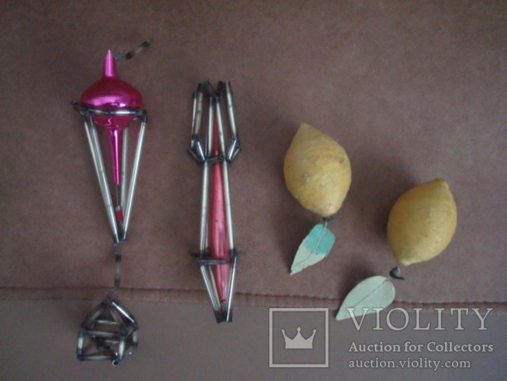 Ёл.игрушки СССР,аэростат,ракета-стеклярус,лимоны-вата, фото №3