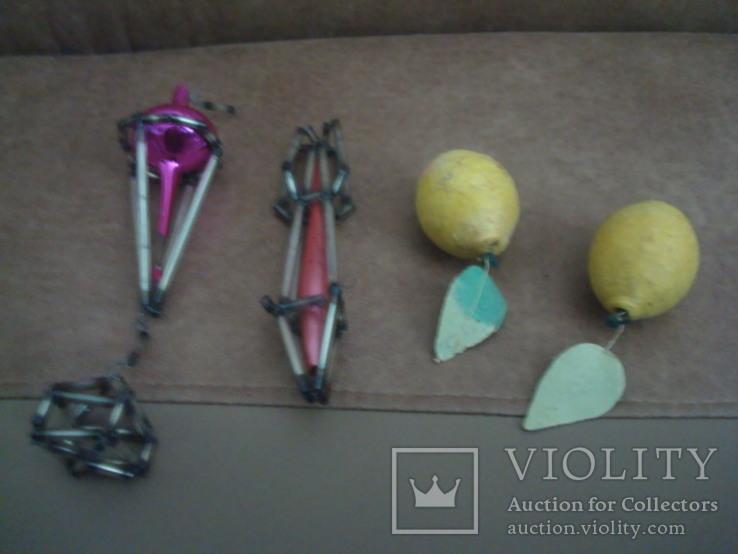 Ёл.игрушки СССР,аэростат,ракета-стеклярус,лимоны-вата, фото №7
