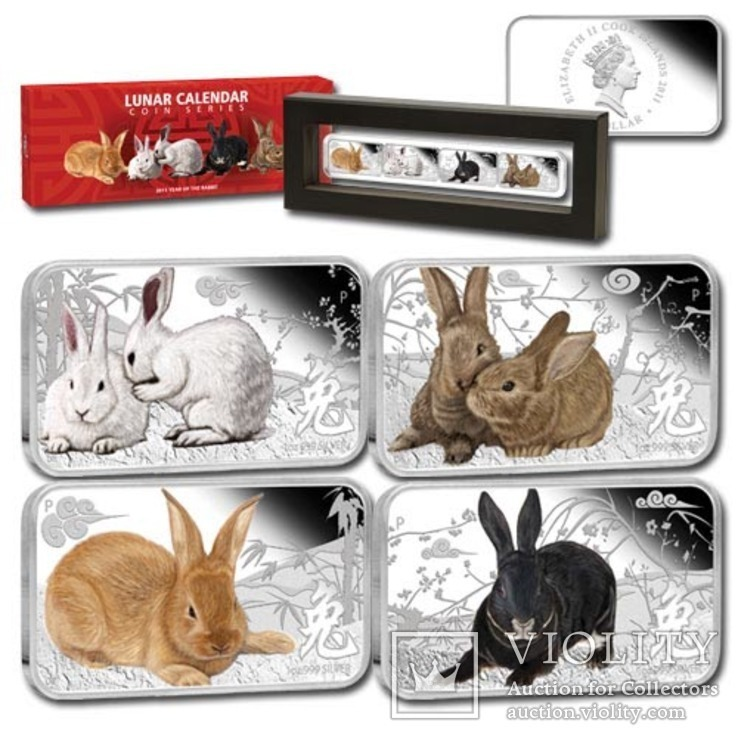 1 доллар 4 монеты год кролика 4 унции серебра