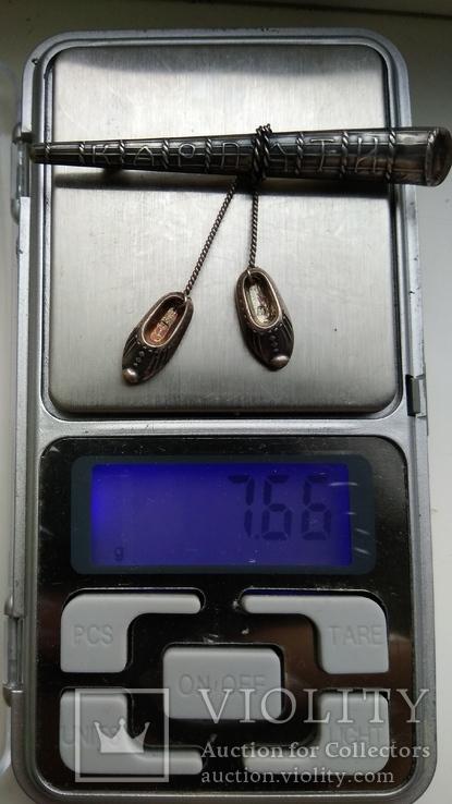 Брошь заколка серебро 875пр. Карпаты, фото №2