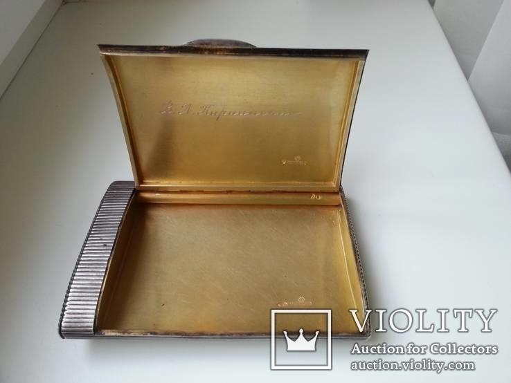 Портсигар Хлебникова серебро 84 пр. 196гр. позолота, фото №4