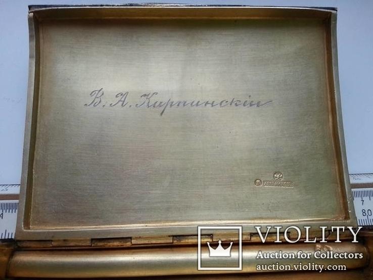 Портсигар Хлебникова серебро 84 пр. 196гр. позолота, фото №13