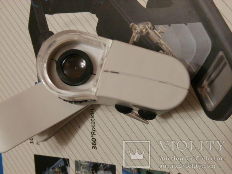 Микроскоп для смартфона Mpk10-Cl60x с клипсой зажимом и usb зарядкой, фото №5