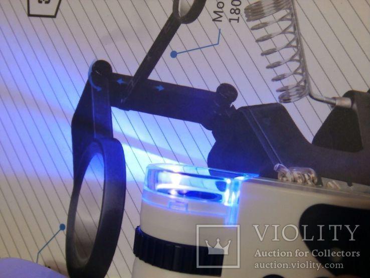 Микроскоп для смартфона Mpk10-Cl60x с клипсой зажимом и usb зарядкой, фото №6