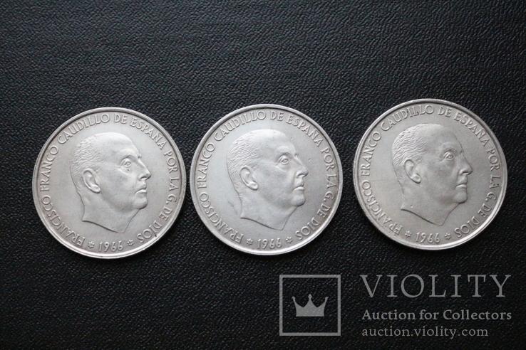 Три серебряные монеты 100 Ptas Песет 1966 год, фото №2
