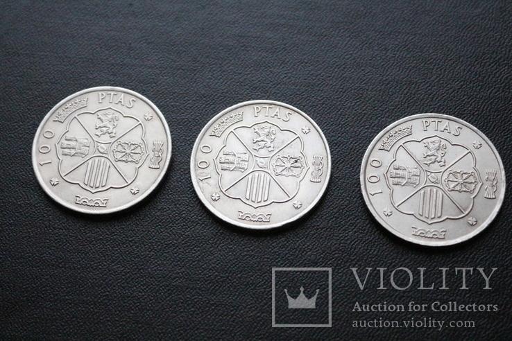 Три серебряные монеты 100 Ptas Песет 1966 год, фото №5