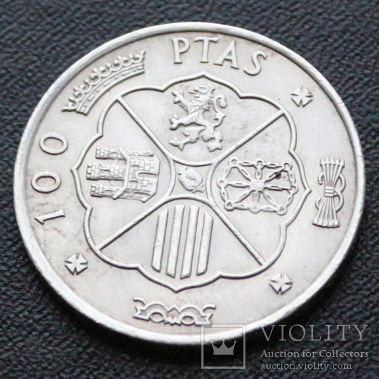 Три серебряные монеты 100 Ptas Песет 1966 год, фото №7