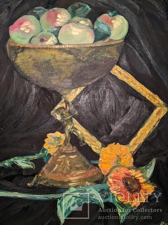 """""""Яблоки в кубке"""", 50х60, масло, фото №3"""