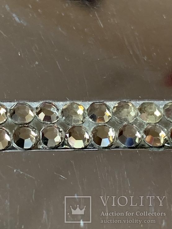 Винтажная коробочка с прозрачными кристаллами и зеркальцем внутри с Англии, фото №3