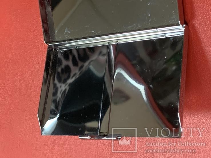 Винтажная коробочка с прозрачными кристаллами и зеркальцем внутри с Англии, фото №10