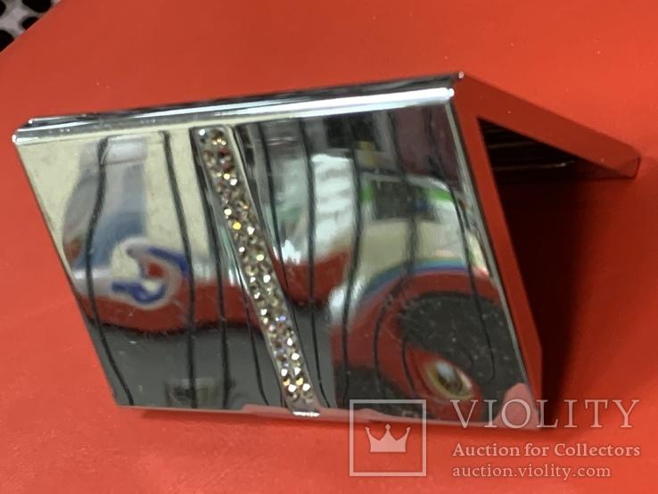 Винтажная коробочка с прозрачными кристаллами и зеркальцем внутри с Англии, фото №12