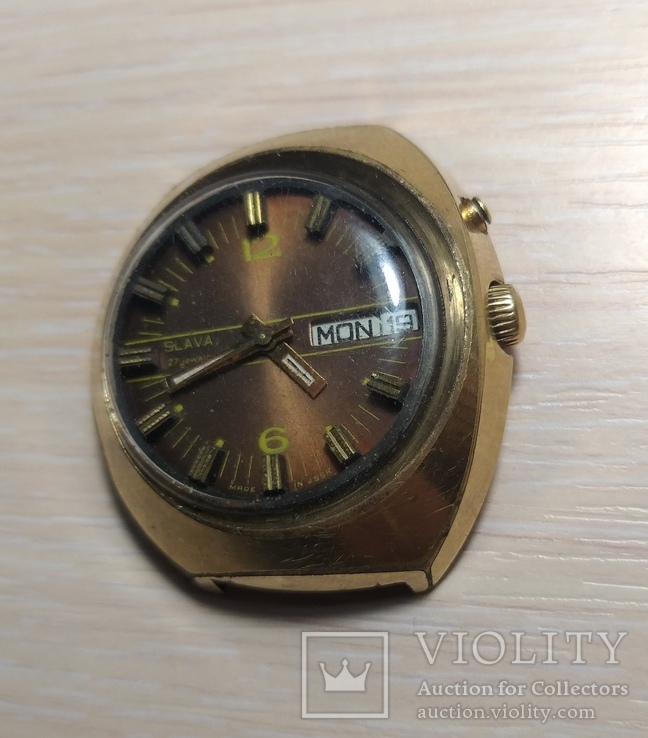 Часы СЛАВА косая асимметричная автомат AU 10, фото №4