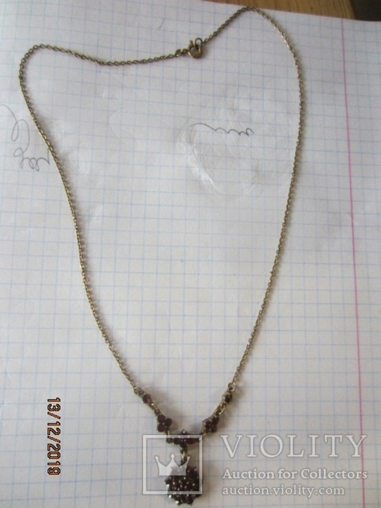 Колье Чешские гранаты Серебро 900 Чехословакия, фото №3