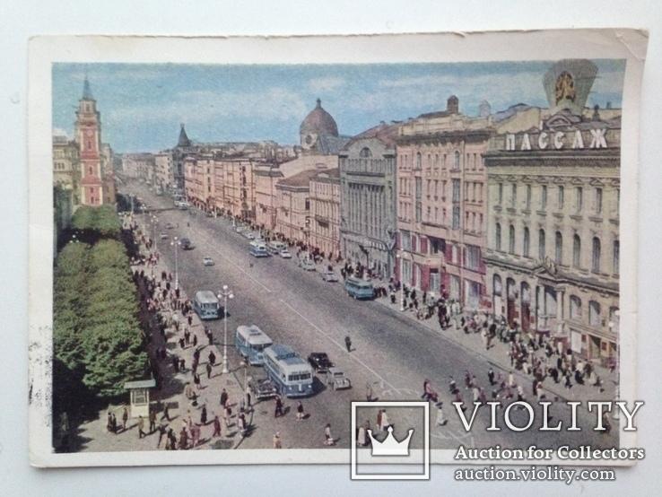 Почтовая карточка 1963  Ленинград Невский проспект подписана, фото №2