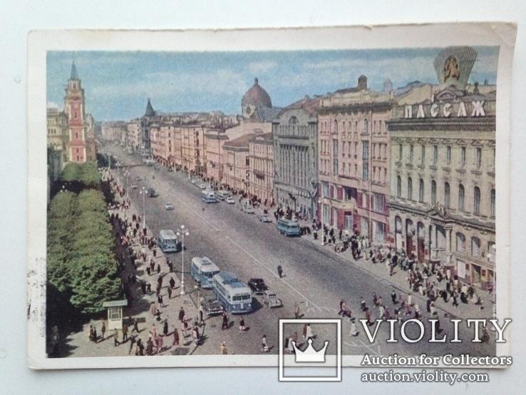 Почтовая карточка 1963  Ленинград Невский проспект подписана, фото №3