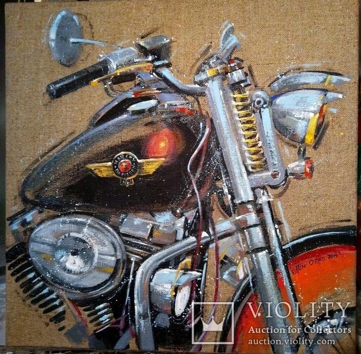 Картина Harley-Davidson. Художник Ellen ORRO. джут/акрил. 50х50, 2019 г., фото №2