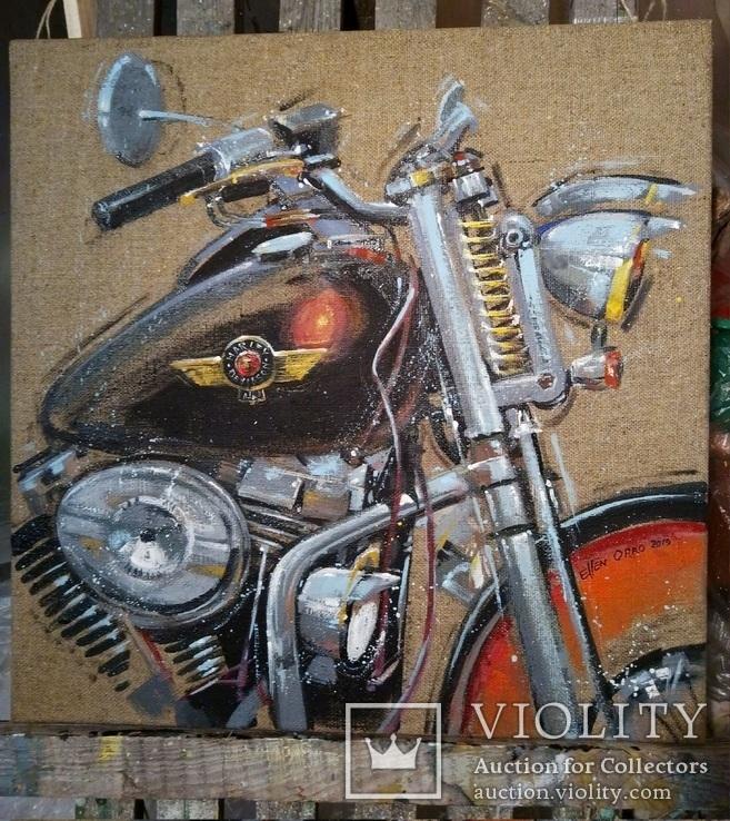 Картина Harley-Davidson. Художник Ellen ORRO. джут/акрил. 50х50, 2019 г., фото №4