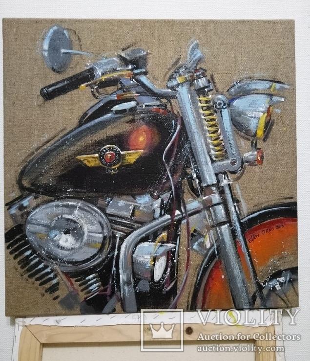Картина Harley-Davidson. Художник Ellen ORRO. джут/акрил. 50х50, 2019 г., фото №5