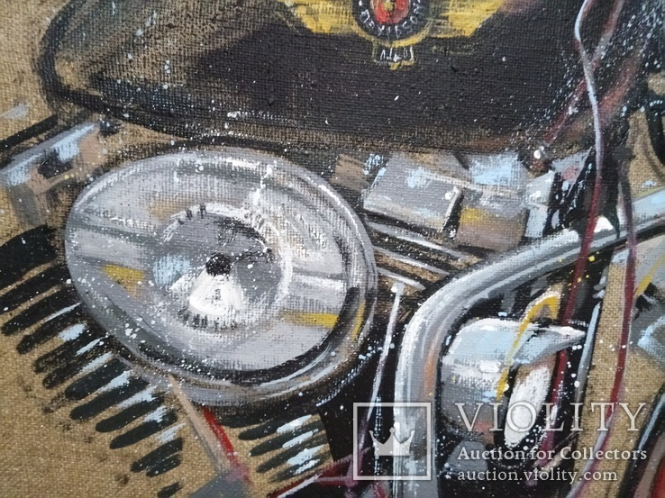 Картина Harley-Davidson. Художник Ellen ORRO. джут/акрил. 50х50, 2019 г., фото №9