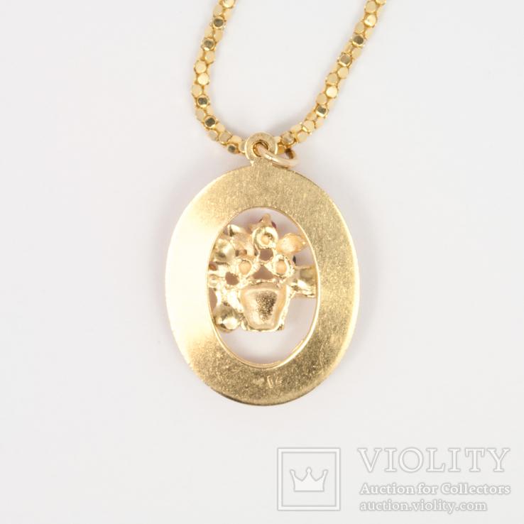 Золотая подвеска TOGETHER FOREVER c натуральными рубинами, сапфирами, изумрудом, фото №3