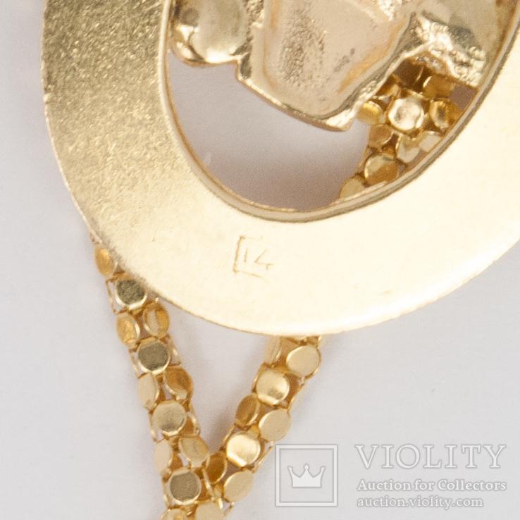 Золотая подвеска TOGETHER FOREVER c натуральными рубинами, сапфирами, изумрудом, фото №4