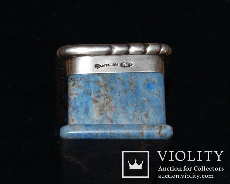 Шкатулка, лазурит, серебро 84 проба, Бр. Грачевы, фото №4
