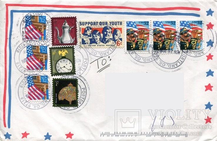 Прошедший почту конверт США флаг стандарты