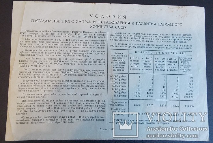 Облигация на сумму 200 руб. 1946 г., фото №3