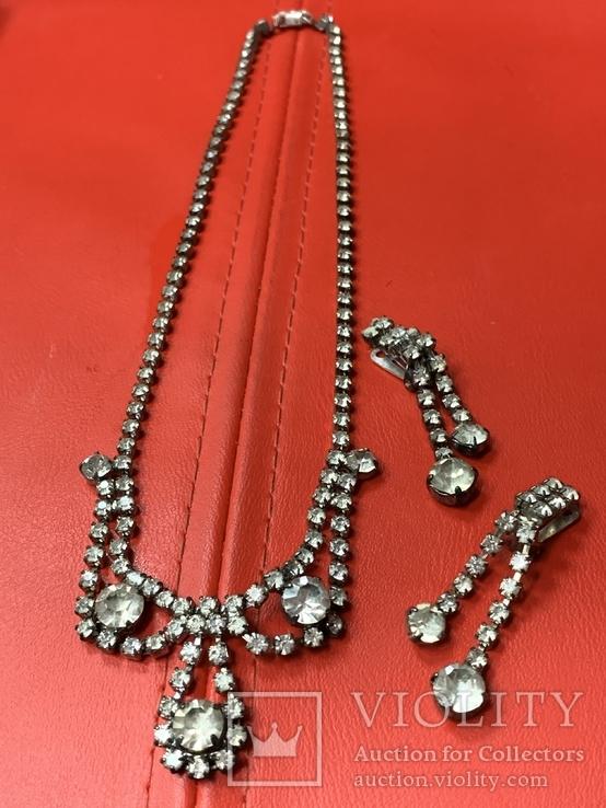 Старые клипсы+ожерелье с кристаллами из горного хрусталя, фото №2