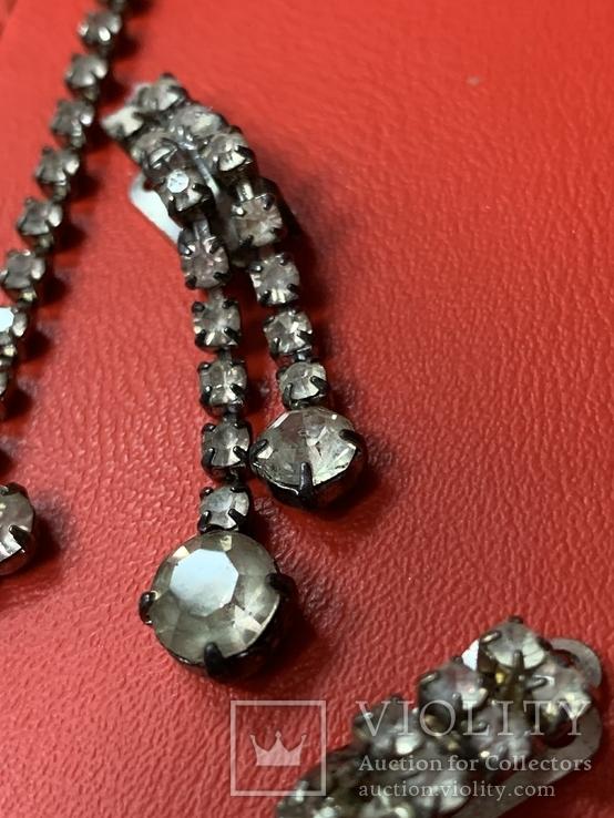 Старые клипсы+ожерелье с кристаллами из горного хрусталя, фото №5