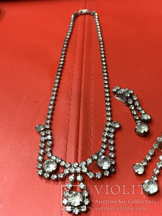 Старые клипсы+ожерелье с кристаллами из горного хрусталя, фото №6