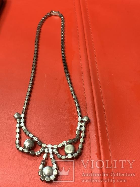 Старые клипсы+ожерелье с кристаллами из горного хрусталя, фото №10
