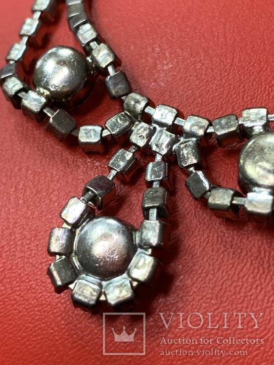 Старые клипсы+ожерелье с кристаллами из горного хрусталя, фото №11