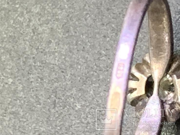Винтажное серебряное колечко с белым камнем, фото №5