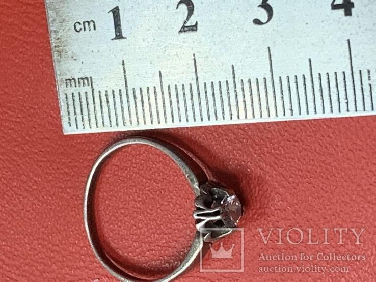 Винтажное серебряное колечко с белым камнем, фото №7