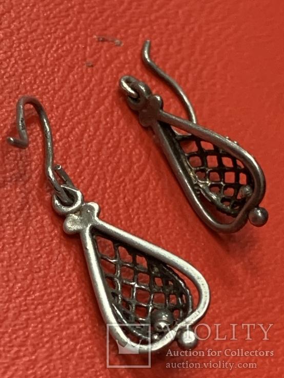 Винтажные серебряные серьги, фото №3