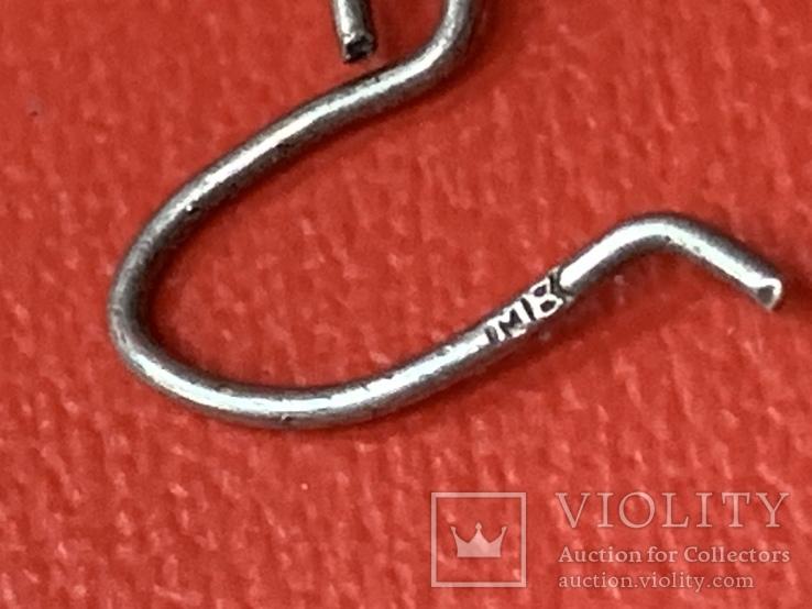 Винтажные серебряные серьги, фото №4