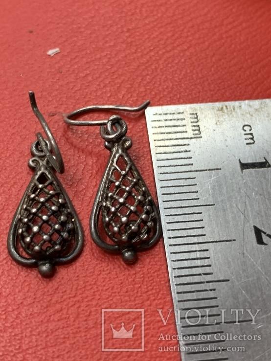 Винтажные серебряные серьги, фото №5