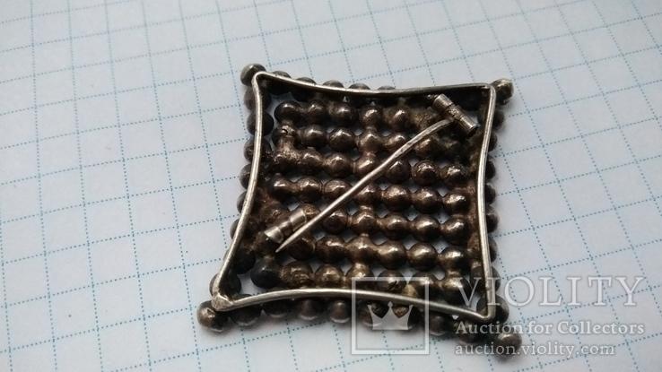 Брошь серебро 875 пр. звезда с камнями, фото №5